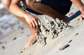 Building sand castle — Stock Photo