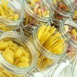 Glass jar filled with  pasta - Stock Photo