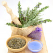 Lavender in wooden mortar — Stock Photo