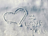 Heart on the snow — Stockfoto