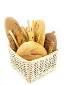 Various types of bread and other wheat products — Stock Photo