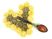 Heart of pasta tagliatelle — Stock Photo