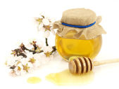 Honey in a jar, flowers and honey dipper — Stock Photo