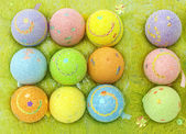 Easter eggs in a eggs case — Stock Photo