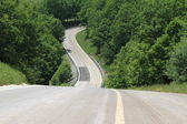 Winding country road through the trees — Stock Photo