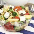 MediterranePenne pastsalad with vegetables and cheese — Stock Photo #6051578