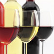 Stock Photo: Three colors of wine in bottles and glasses