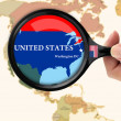 Magnifying glass over a map of United states — Stock Photo #6278906