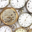 Stock Photo: Various Antique pocket clocks on white