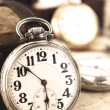 Antique retro silver pocket clock - Foto Stock
