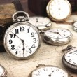 Antique retro silver pocket clocks — Stock Photo