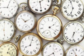 Various Antique pocket watches on white — Stock Photo
