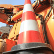 Foto Stock: Traffic cone set on the car