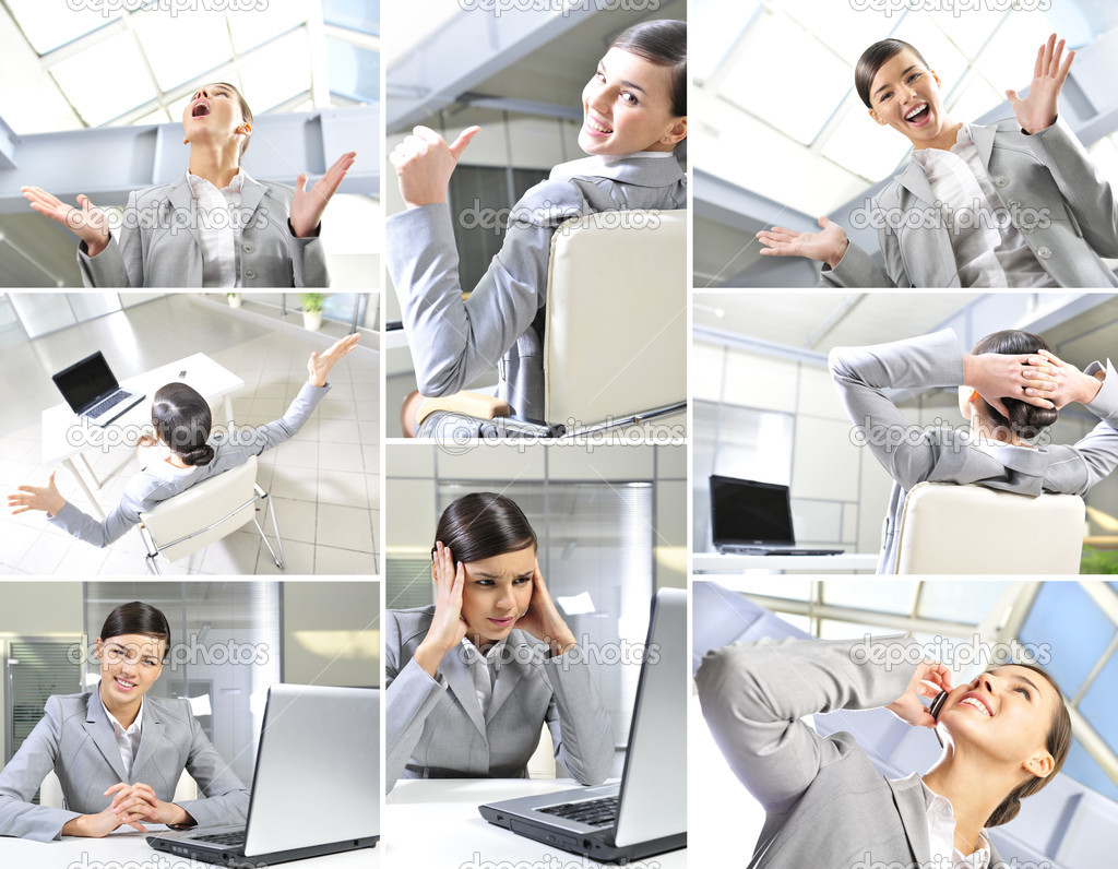 Collage made of photos describing lifestyle of a businesswoman — Stock Photo #5389476