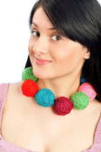 Closeup portrait of beautiful woman with wool balls — Stok fotoğraf
