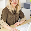 Portrait of a businesswoman at her computer. - Stockfoto