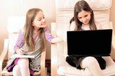 Iki genç kız bir koltukta otururken dizüstü onların işi — Stok fotoğraf