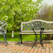 Patio furniture in the garden — Stock Photo
