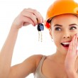 Photo of happy woman construction engineer wearing protective or — Stock Photo #5860522