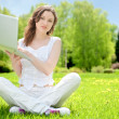 Young woman with laptop sitting on green grass — Stock Photo