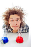 Crazy man portrait isolated background — Stock Photo