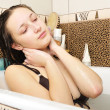 Closeup of a sexy young woman enjoing bath — Stock Photo