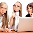 Group of women with a laptop computer - isolated — Stock Photo #5912475