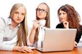 Group of women with a laptop computer - isolated — Stock Photo