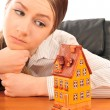 Young beautiful business woman with house model - real estate. S — Stock Photo