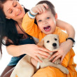Portrait of a happy family of mother and her son sitting togethe — Stock Photo