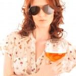 Closeup portrait of trendy pretty woman wearing stylish dress ho — Stock Photo #6004717
