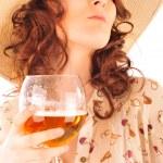 Closeup portrait of trendy pretty woman wearing stylish dress ho — Stock Photo #6004721