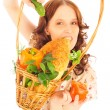 Closeup portrait of young caucasian woman with straw basket of f — Stock Photo