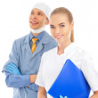 Closeup portrait of two young caucasian doctors standing togethe — Stock Photo #6004744
