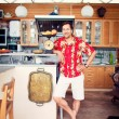 Artistic lifestyle photo of adult friendly man at his kitchen at — Stock Photo