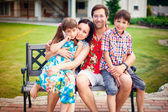 Artistic lifestyle photo of happy family having fun outdoors at — Stock Photo
