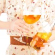 Funny oktoberfest beer holding woman — Stock Photo