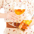 Funny oktoberfest beer holding woman - Stock Photo