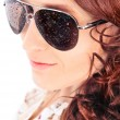 closeup portrait of beautiful fashion woman wearing sunglasses o — Stock Photo