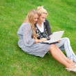 Portrait of two smiling women using laptop on a green meadow at — Stock Photo #6072361