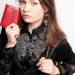 Portrait of a bright beautiful young woman with fashion  handbag - Photo