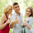 Portrait of three young teenagers laughing and having fun togeth — Stock Photo #6251217