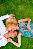 Un ritratto di una coppia dolce in amore. foto dall'alto. Horizont — Foto Stock