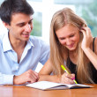 Portrait of teacher helping young student with her studies in co — Stock Photo #6418912