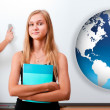 Portrait of two students making presentation in glassroom near w — Stock Photo