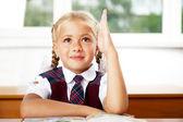 ショット desk.horizontal で学校の少女の肖像画. — ストック写真