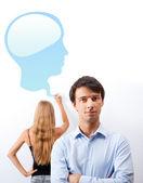 Biologie of psycology les. leraar geeft lezing met hulp van — Stockfoto