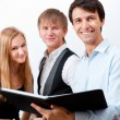 Royalty-Free Stock Photo: Portrait of college students making presentation of their project