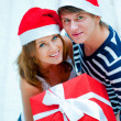 Foto Stock: Portrait of young pretty couple standing indoors wearing Santa C