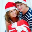 Stockfoto: Portrait of young pretty couple standing indoors wearing Santa C